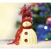 Svítící sněhulák s LED, bílá + červená