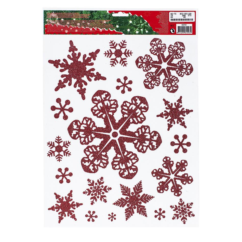 Vianočná okenná dekorácia vločky červená