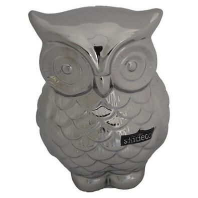 StarDeco Decorație ceramică Bufniță de  culoarea argint, 16,5 cm