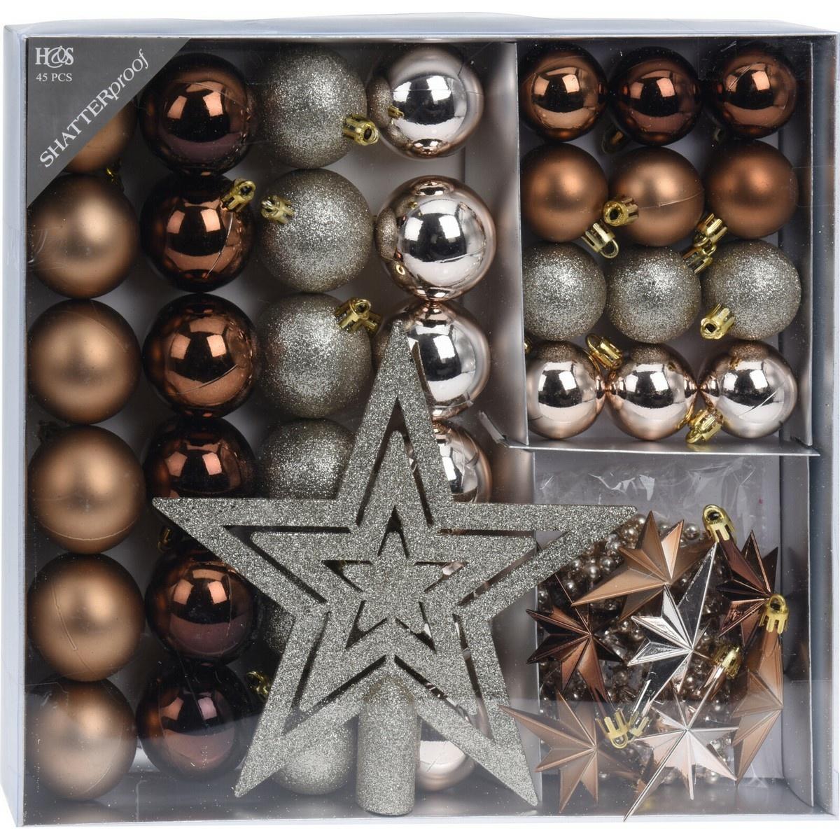 Sada vánočních ozdob Ribera 45 ks, hnědá