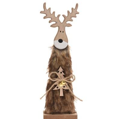 Świąteczny Renifer drewniany Erwin brązowy, 30 cm