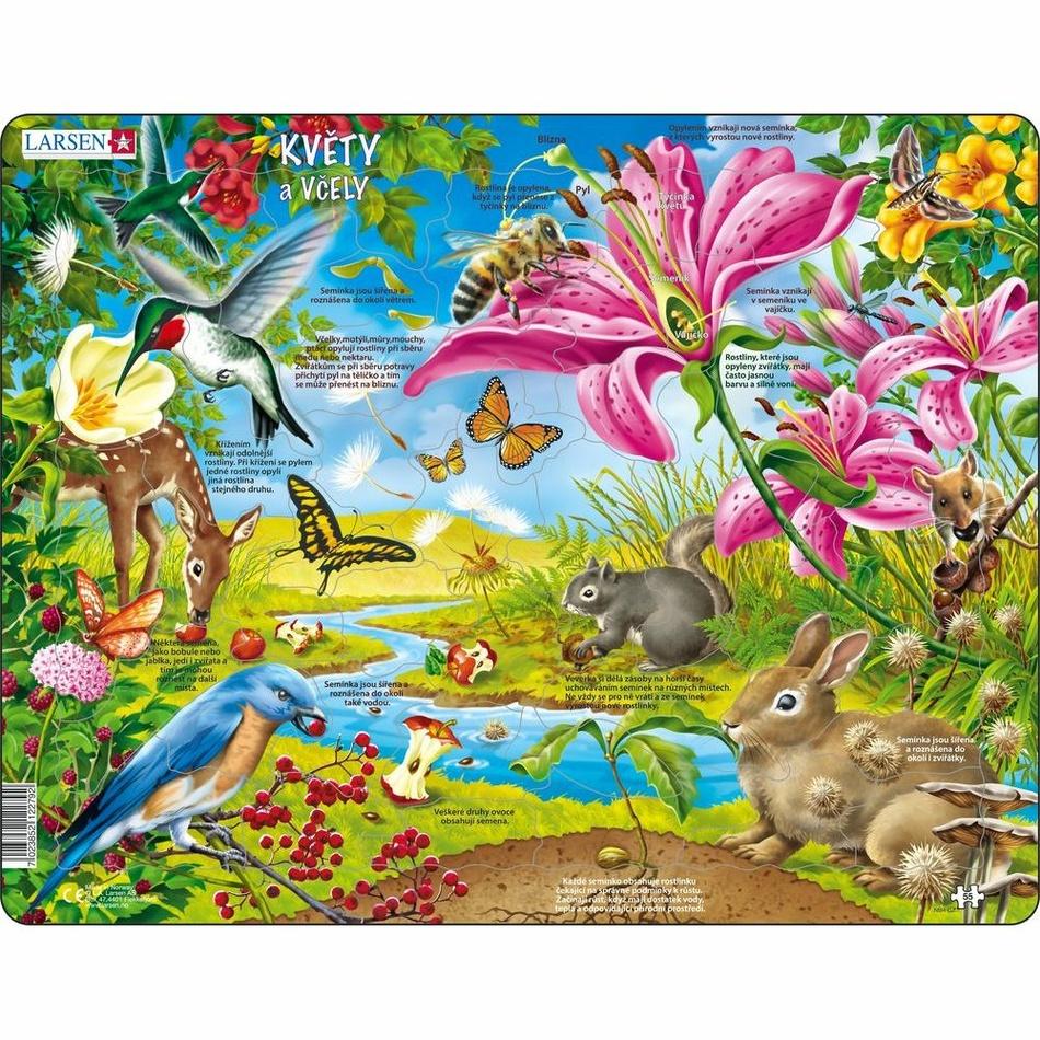 Larsen Puzzle Květiny a včely, 55 dílků