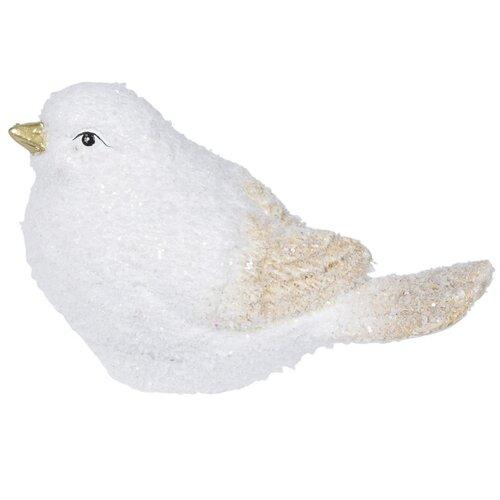 Dekoracja z żywicy Christmas bird, 14 x 8 cm