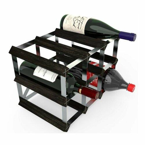 Stojan na víno RTA na 9 lahví, černý jasan - pozinkovaná ocel / rozložený