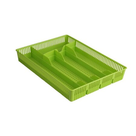 Altom Plastový příborník děrovaný 31 x 23 x 4,5 cm, zelená