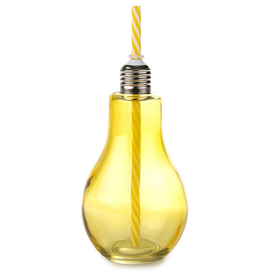 Sklenice s brčkem Žárovka velká 400 ml, žlutá