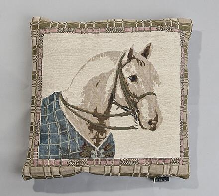 Gobelínová obliečka na vankúš Koník BO-MA, 43 x 43, béžová