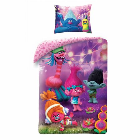 Lenjerie de pat din bumbac, pentru copii, Trolls, violet, 140 x 200 cm, 70 x 90 cm