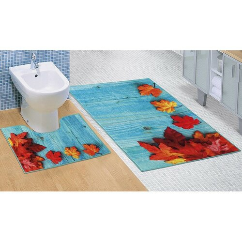 Bellatex Sada koupelnových předložek Javorové listy 3D, 60 x 100 cm, 60 x 50 cm