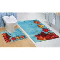 Bellatex Komplet dywaników łazienkowych Liście klonu 3D, 60 x 100 cm, 60 x 50 cm
