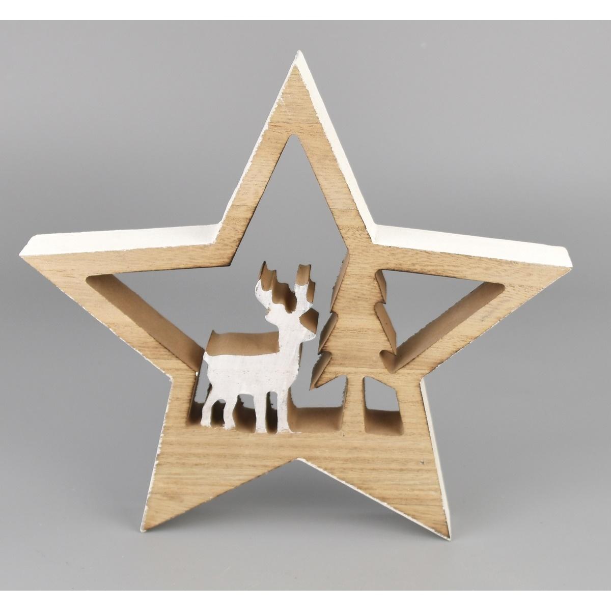 Vánoční dekorace Hvězda s jelenem, 11 x 15 cm