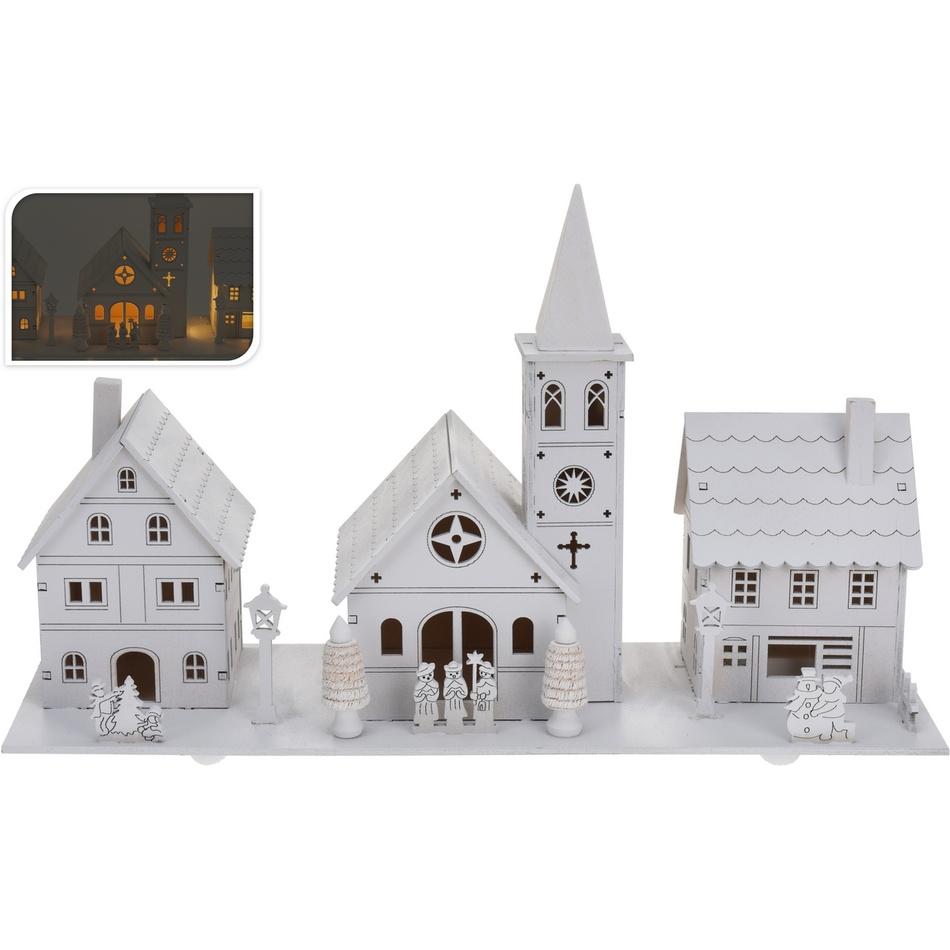 Dekorační vánoční vesnička, bílá