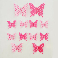 Stickere 3D fluturași, buline roz, 12 buc.