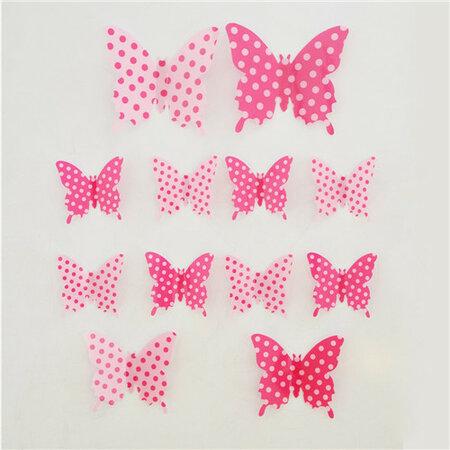 Samolepiace 3D motýle ružová bodka, 12 ks