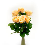 Umělá květina růže lososová 6 ks