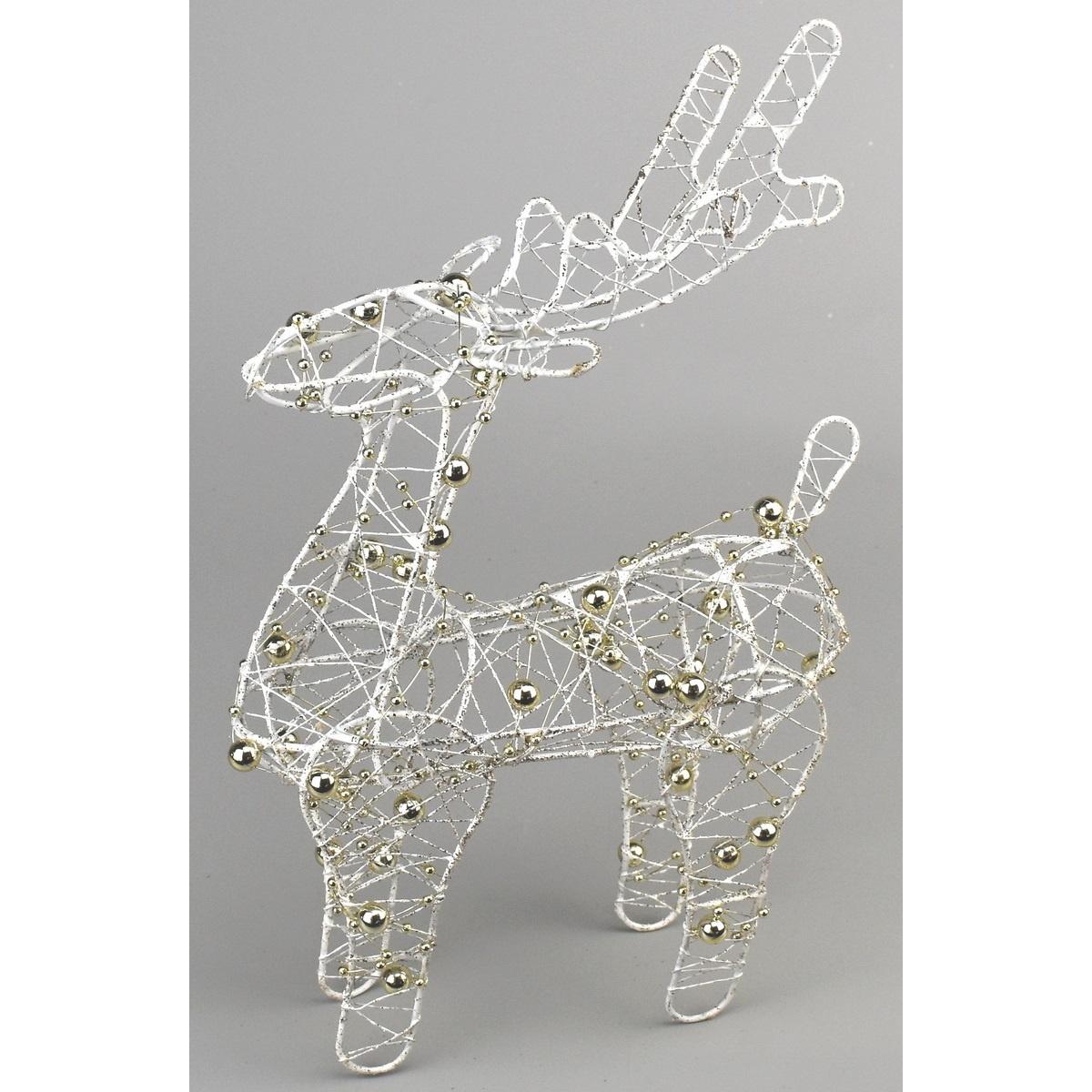 Vánoční dekorace sob Brawley bílá, 20 cm
