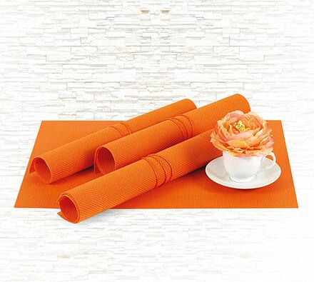 Prostírání oranžová, sada 4 ks, 40 x 30 cm, oranžová, 40 x 30 cm