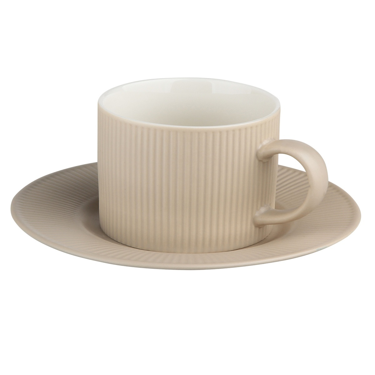 Altom Porcelánový šálek s podšálkem Urban 240 ml, béžová