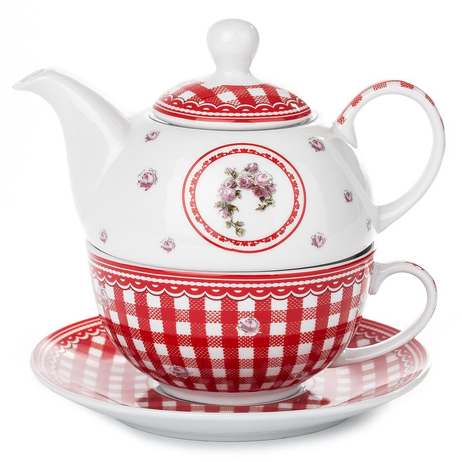 3dílná čajová sada Elegant, červená, porcelán
