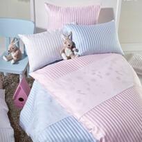 Stella Ateliers Dziecięca pościel z adamaszku Oskar a Freunde różowy, 100 x 135 cm, 40 x 60 cm