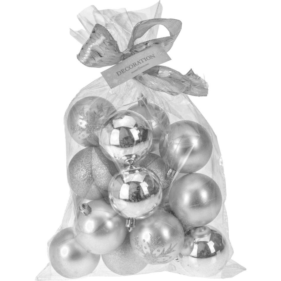 Zľava  Vianočné gule Candy 16 ks, strieborná, 16 x 6 cm