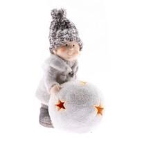 Keramický chlapček s LED osvetlením, 13 cm