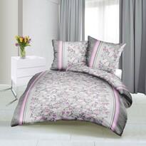 Bellatex Saténové obliečky Kvietok sivo-ružová, 140 x 200 cm, 70 x 90 cm