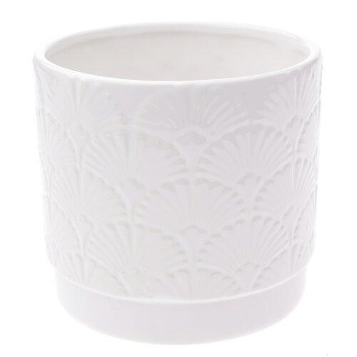 Keramický obal na květináč Shells, bílá, 13,5 x 12,5 x 12 cm
