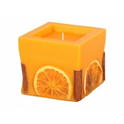 Dekorativní svíčka Pomeranč a skořice, hranol