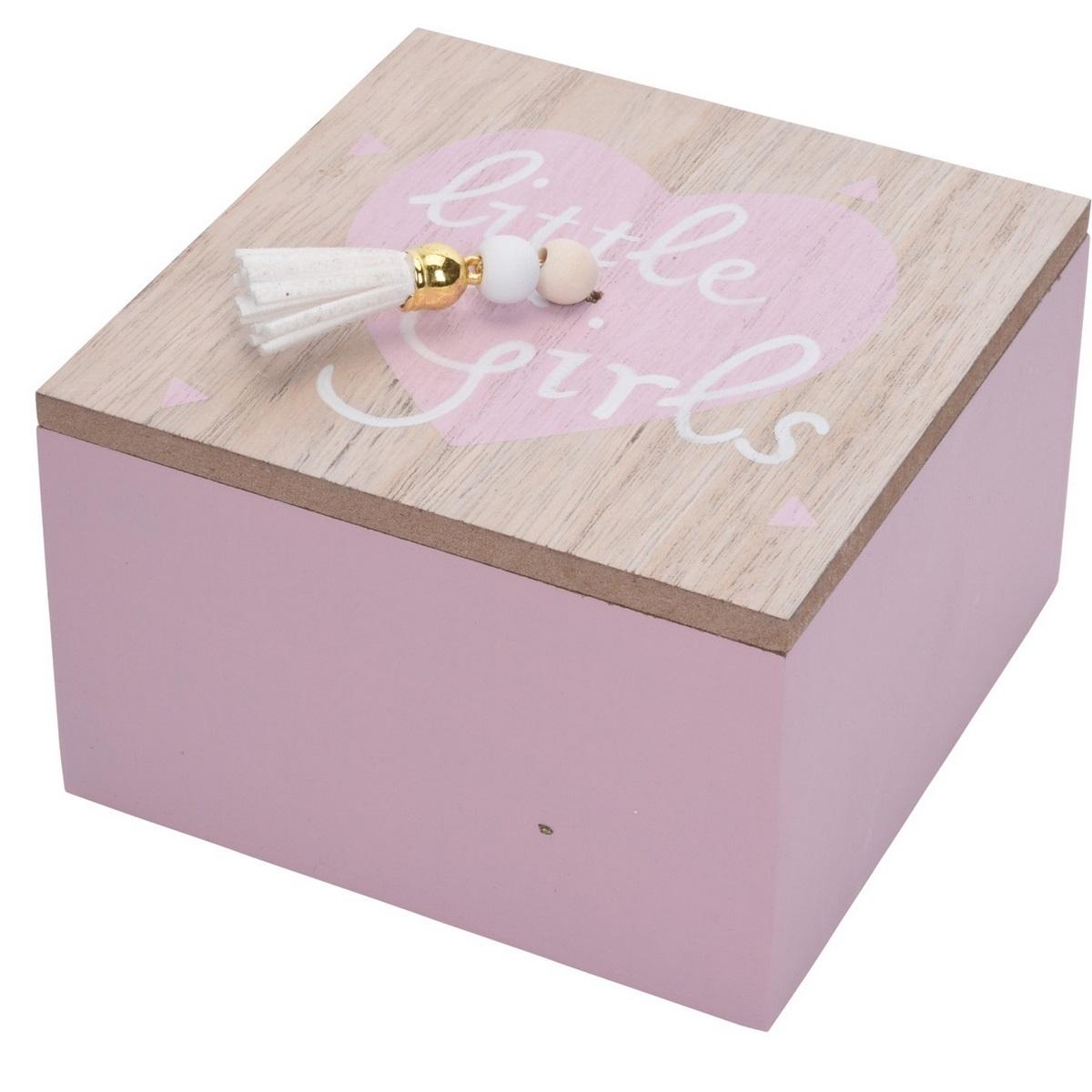 Dekoračný box Nadia ružová, 12 x 12 x 7 cm