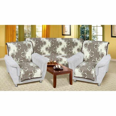 Přehozy na sedací soupravu Karmela Plus Kvítí hnědá, 150 x 200 cm, 2 ks 65 x 150 cm