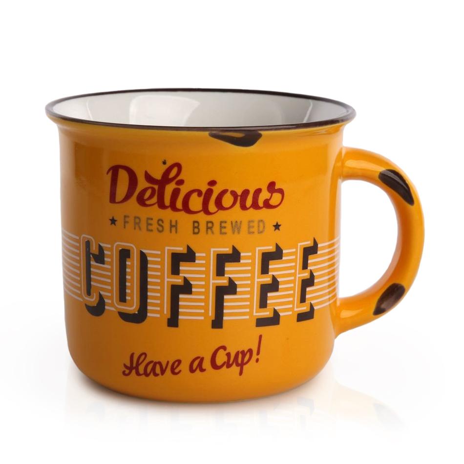 Porcelánový hrnek Cofee 330 ml, žlutá