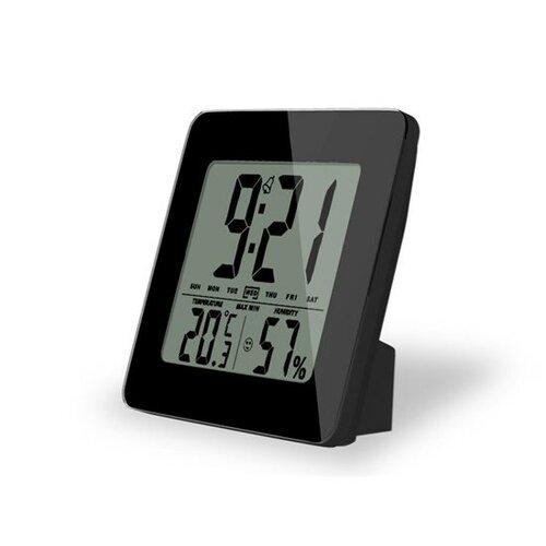 Solight teplomer, Teplota, vlhkosť, budík, LCD displej, čierny rámček
