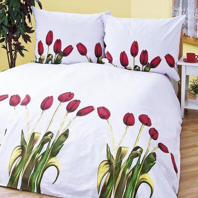 Bavlněné povlečení Tulipány, 240 x 220 cm, 2 ks 70 x 90 cm