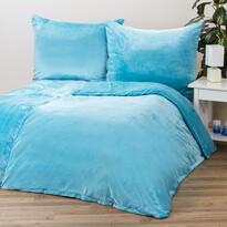 Lenjerie de pat micropluș, albastră, 140 x 200 cm, 70 x 90 cm