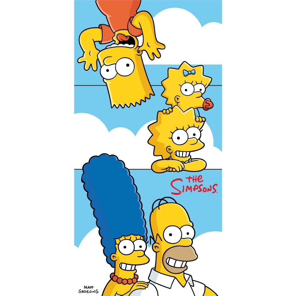 Jerry Fabrics Osuška The Simpsons family clouds, 70 x 140 cm