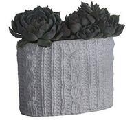 Keramický květináč ovál šedý