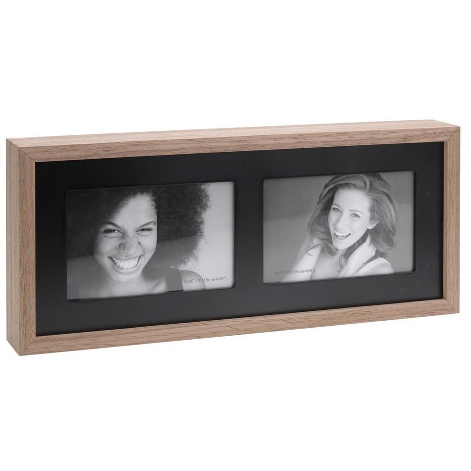 Fotorámeček Wood na 2 fotografie, černá + hnědá