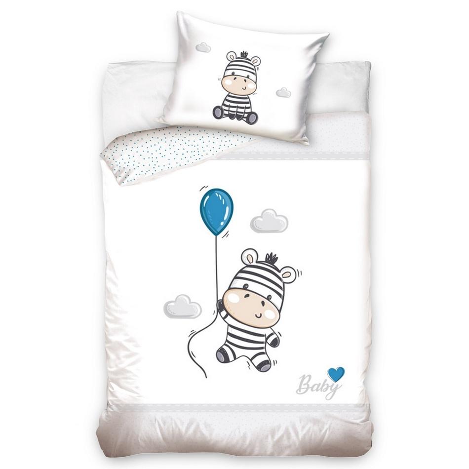 BedTex Detské bavlnené obliečky do postieľky Zebra sivá, 100 x 135 cm, 40 x 60 cm