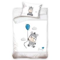 Zebra gyermek pamut ágynemű kiságyba, szürke, 100 x 135 cm, 40 x 60 cm