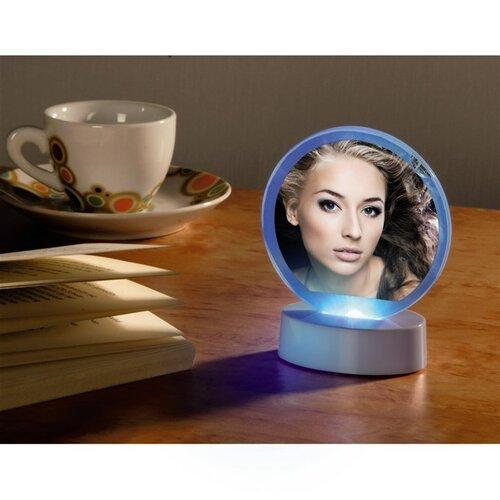 Portrétový rámeček LED kruhový bílá