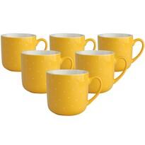 Altom Sada porcelánových hrnků Puntík 300 ml, 6 ks, žlutá