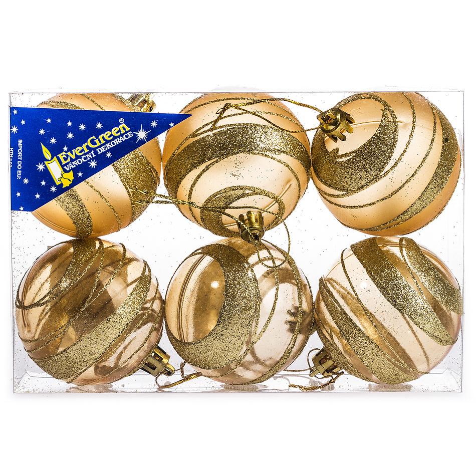 HTH Vánoční koule s pruhy 6 ks zlatá pr. 6 cm