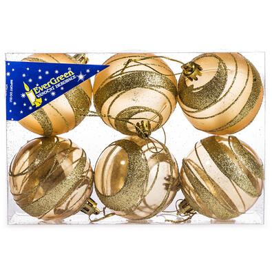Vánoční koule s pruhy 6 ks, zlatá