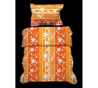 Krepové povlečení Květiny, oranžová, 140x220, 70x9, oranžová, 140 x 220 cm, 70 x 90 cm