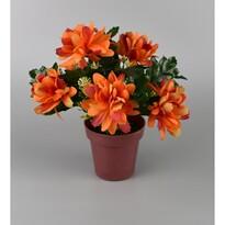 Umělá květina Chrysantéma v květináči 16 cm, oranžová