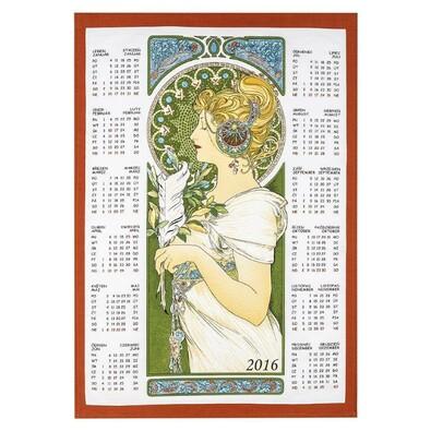Textilní kalendář 2016 Alfons Mucha Pírko, 45 x 65 cm