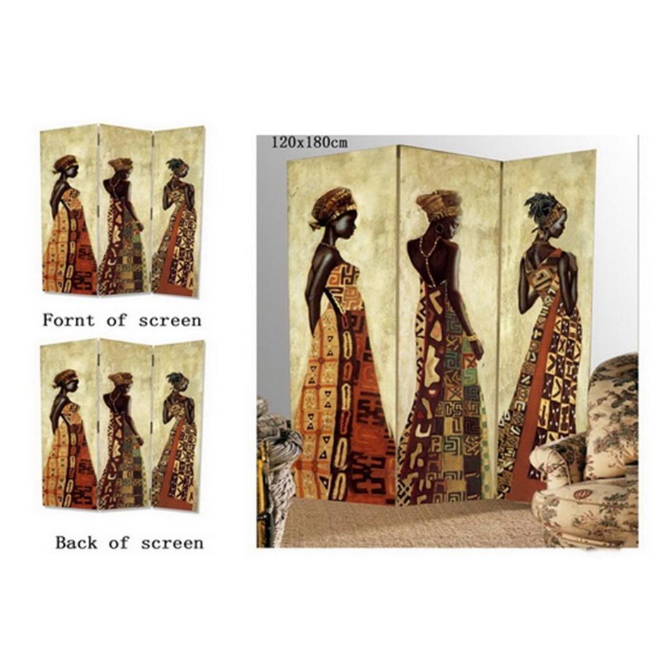 Paravan africká žena 3dílný