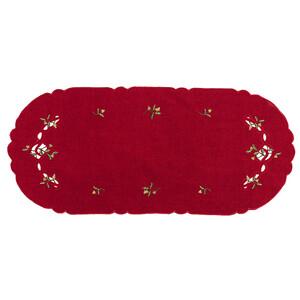 Vánoční ubrus jmelí červená, 40 x 90 cm
