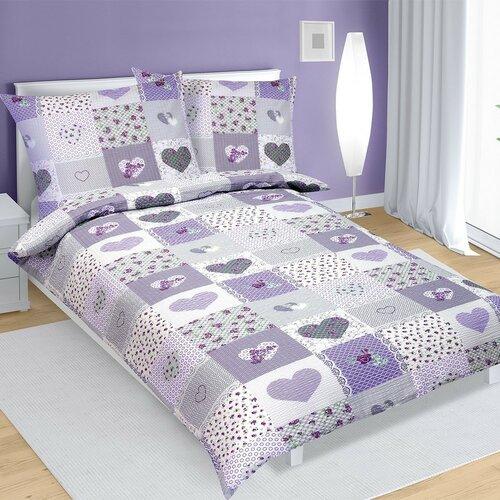 Bavlněné povlečení Srdce fialová, 140 x 220 cm, 70 x 90 cm
